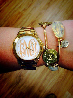 Classic Monogram Watch: Gold/ White Face