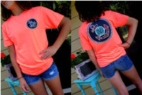 Anchors Away Monogram T-Shirt: Neon Heather Coral