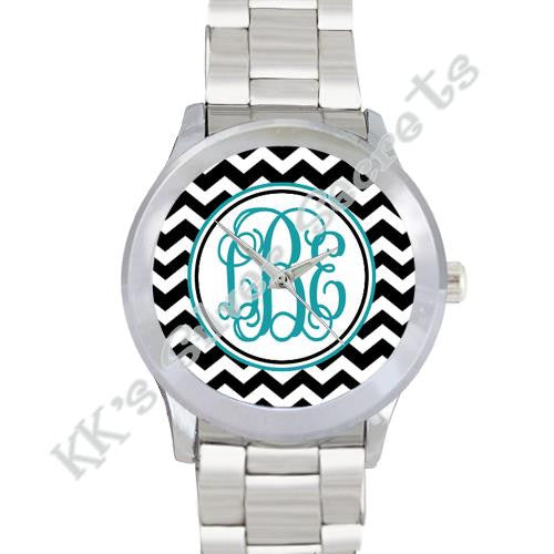 Chevron Watch: Black/ White with Turquoise Circle & Initial