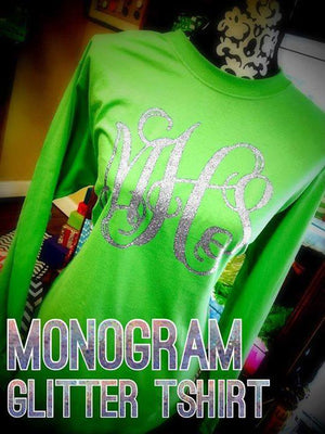 Classic Monogram Long Sleeve T-shirt: Irish Green/ Silver Glitter