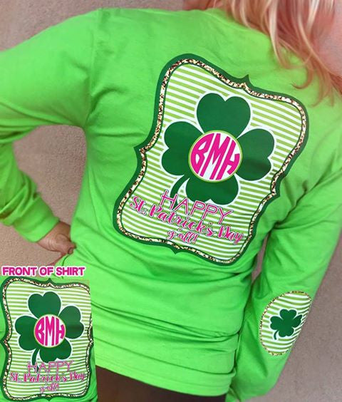 Happy St. Patricks Day Yall Monogram Elbow Patch Long Sleeve Shirt: Lime Green