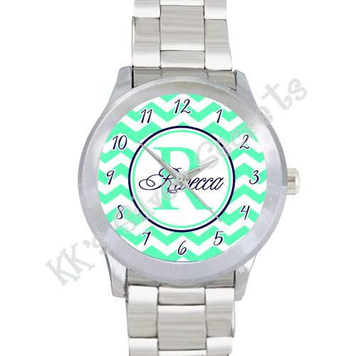 Lime Green Chevron Watch Name w/ Numbers: Navy