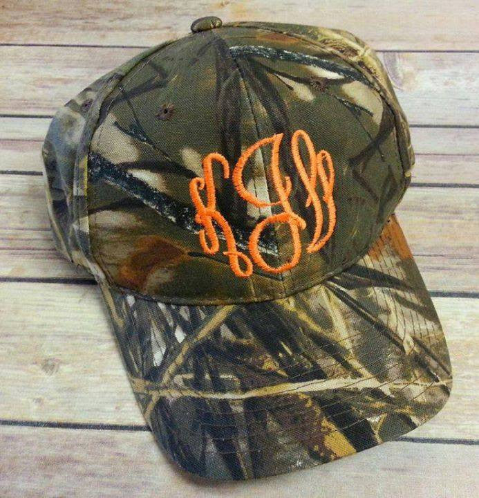 Monogram Camo Hat: Neon Orange/ Interlocking