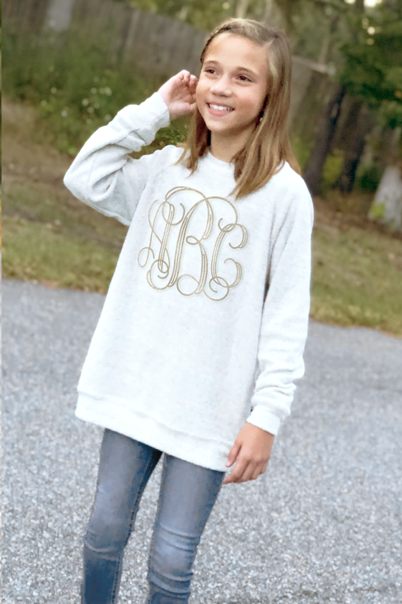 Embroidered Poodle Fleece Crew Sweatshirt