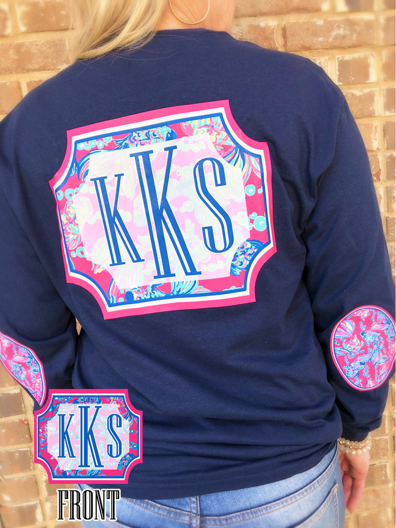 Coastal Catch Elbow Patch Long Sleeved Tee: Navy/ Pink