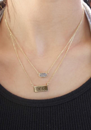 Lindsay: Layered Druzy Engraved Necklace