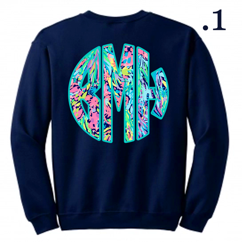 Monogram Designer Inspired Sweatshirt: Navy