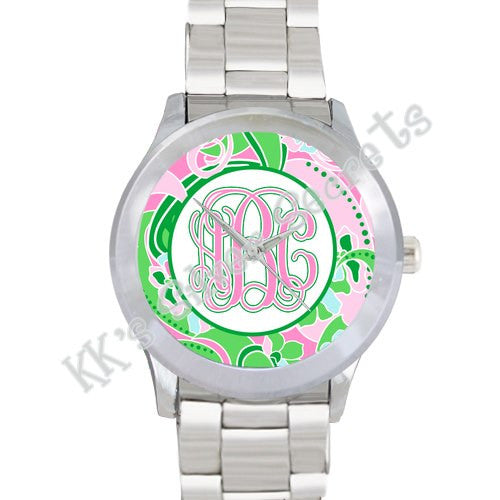 Floral Print Watch: Pink/ Green