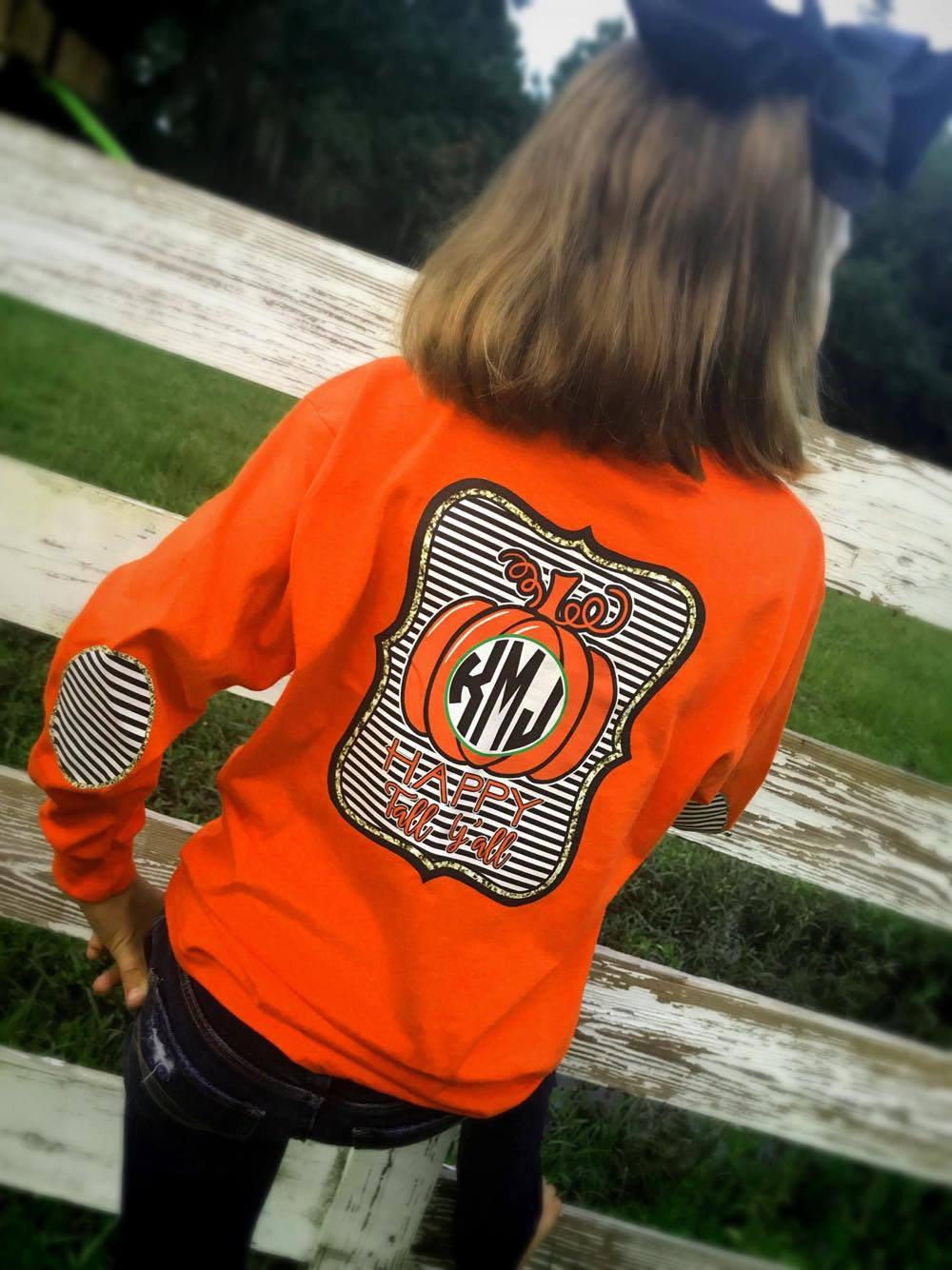 Happy Fall Yall Monogram Elbow Patch Long Sleeve Shirt