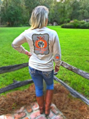 Give Thanks Yall Monogram Elbow Patch Long Sleeve Shirt: Sand/Chocolate Brown/Orange