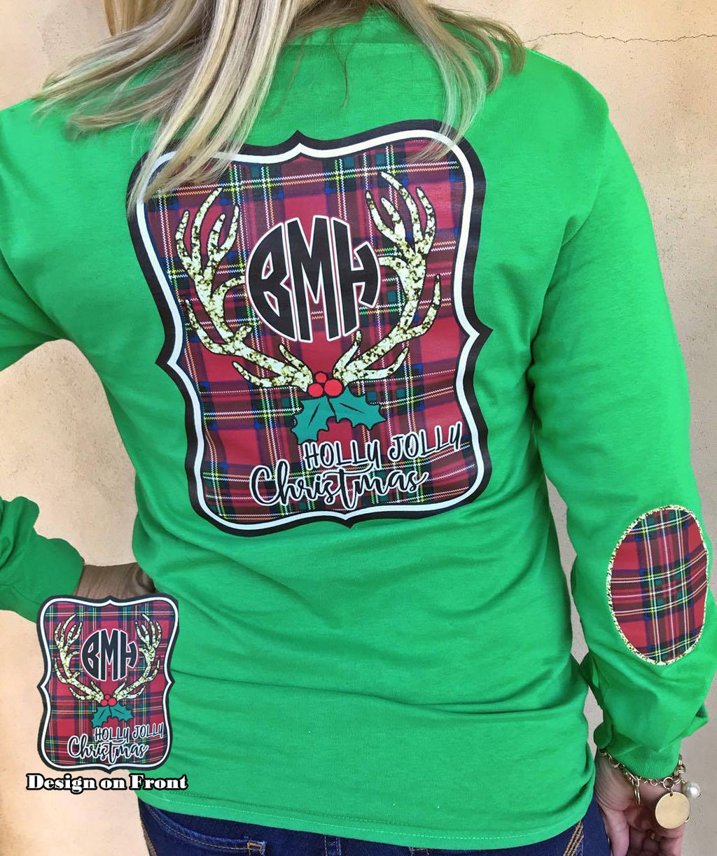 Holly Jolly Christmas Monogram Tee: Green/Christmas Plaid