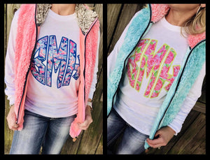 Lilly Print Monogram Tees