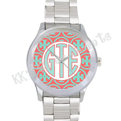 Designer Inspired Watch: Coral/ Aqua/ White