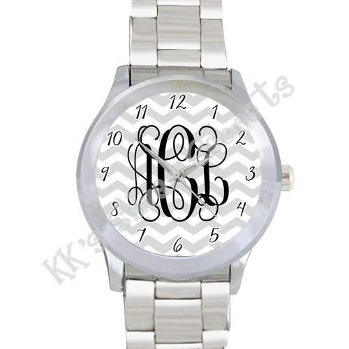 Chevron Watch: White/ Gray with Numbers