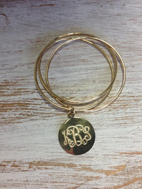 3 Bangle Monogram Bracelet: Gold