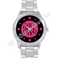 Solid Watch: Black/ Pink Number Dots