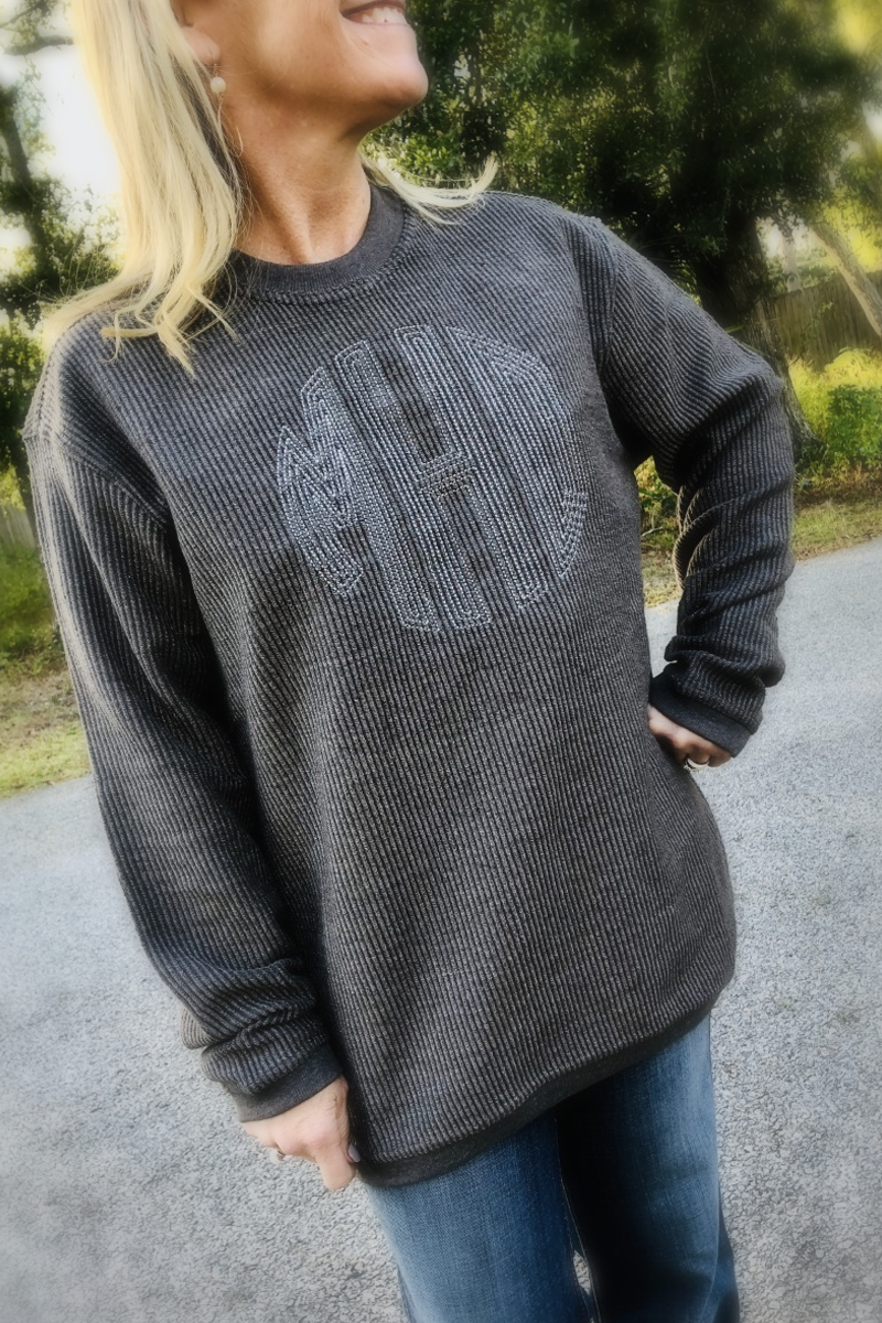 Embroidered Washed Cord Crew Sweatshirt