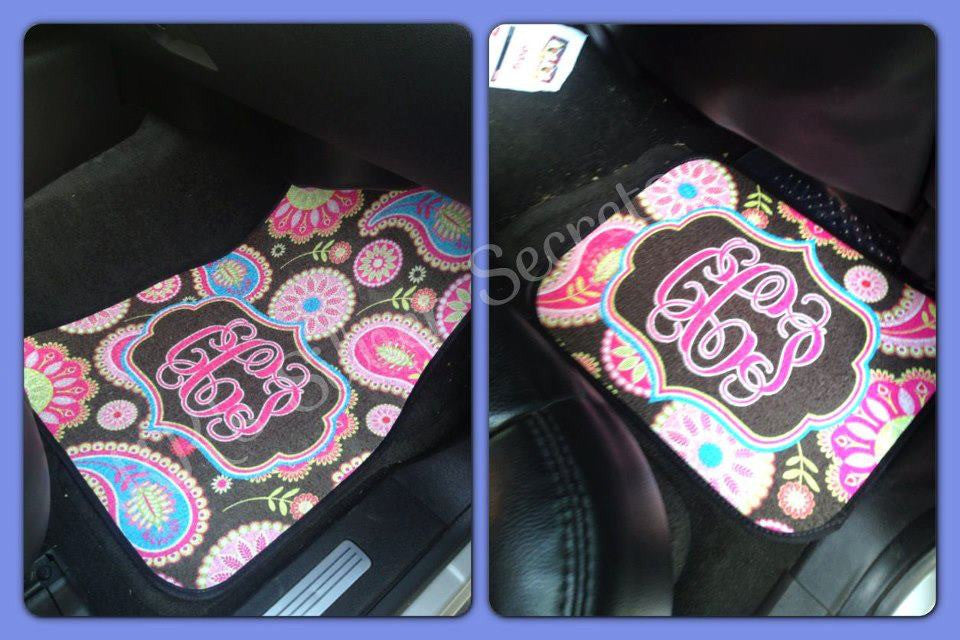 Monogram Car Mats: Brown Paisley