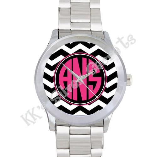Black/ White Chevron Watch: Pink/ Circle