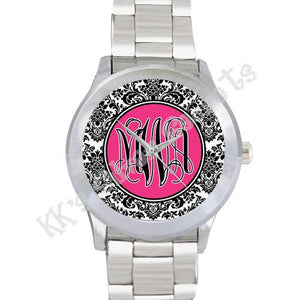 Damask Watch: Black/ Hot Pink