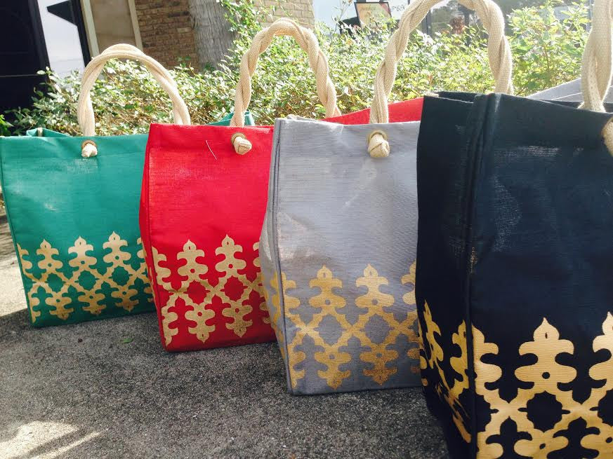 Royal Burlap Totes: Gold/ Vine