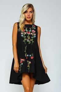 Sleeveless Black Embroidered Flower Tunic