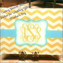 Monogram Cutting Board: Yellow Chevron/ Aqua