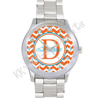Chevron Monogram Watch: Orange/ Full Name