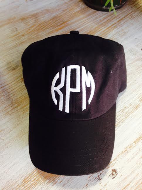 Monogram Baseball Hat: Black/ Circle White