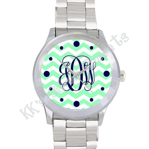 Lime Green Chevron Watch w/ Dots: Navy