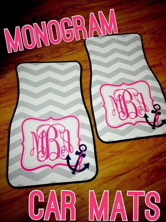 Monogram Car Mats: Chevron/ Anchor