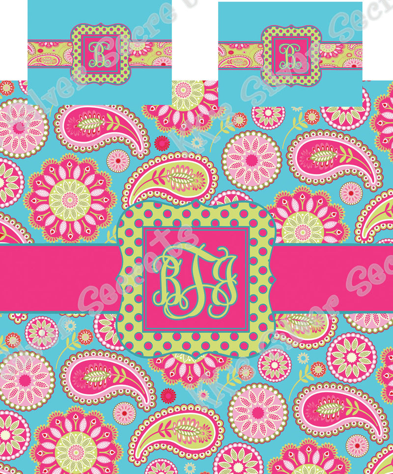 KK's Custom Bedding: Blue and Pink Colorful Paisley