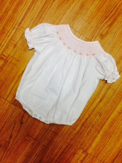 Smocked Bubble: White/ Floral
