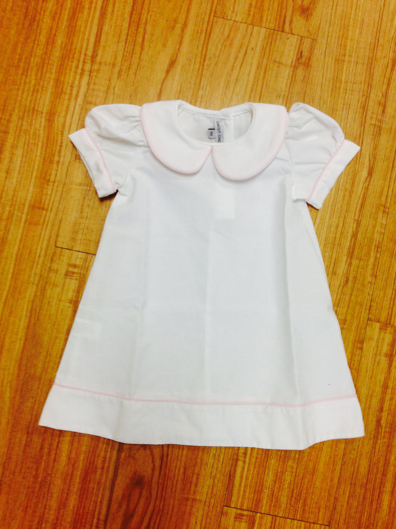 Collared Dress: White/ Light Pink Trim
