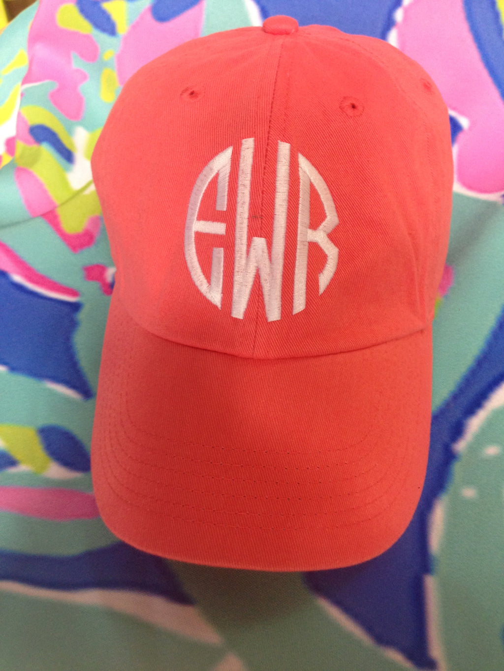Monogram Baseball Hat: Coral - Circle/ White