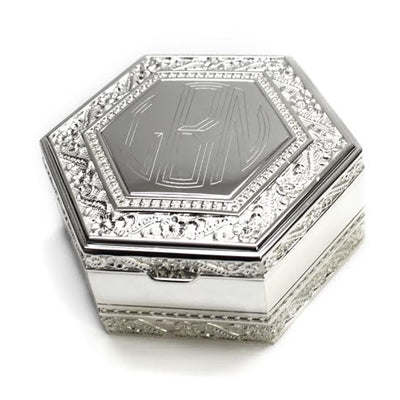 Hexagon Monogram Silver Jewelry Box