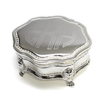 Ornate Monogram Silver Jewelry Box