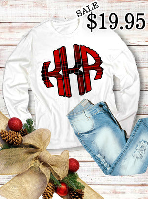 Red Plaid Monogram Long Sleeve Shirt: White