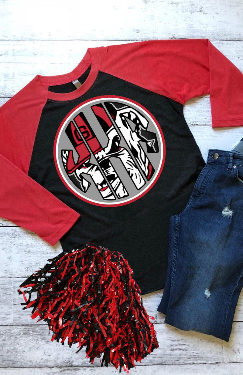 Red & Black Baseball shirt:  Georgia Monogram