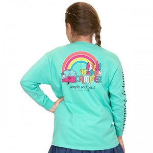 Simply Southern Long Sleeve Tshirt: Happy Camper/Aruba YOUTH