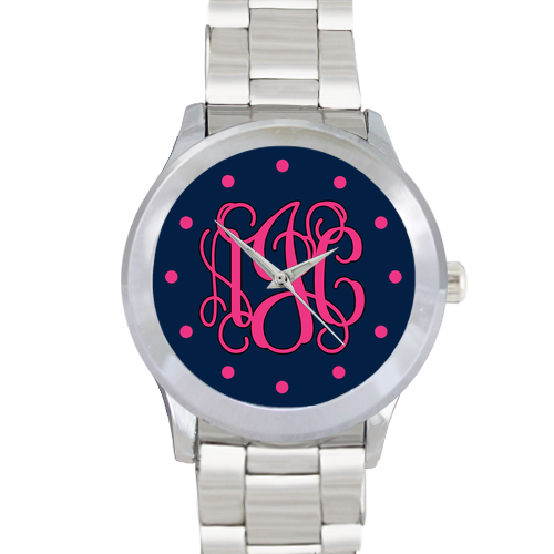 Navy Face Watch: Vine/ Hot Pink w/ Dots