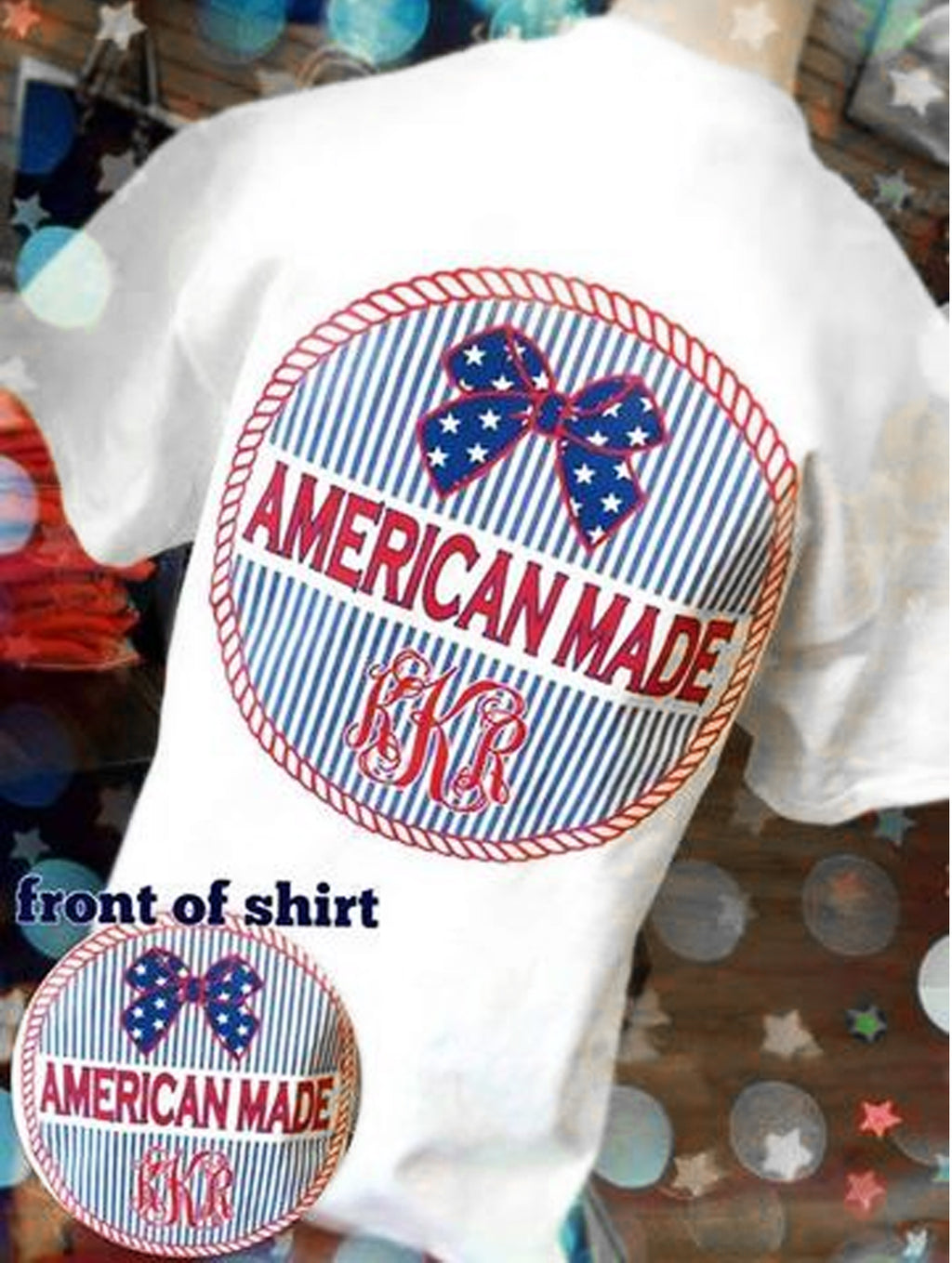 American Pride Short Sleeve T-Shirt: White/ Rope