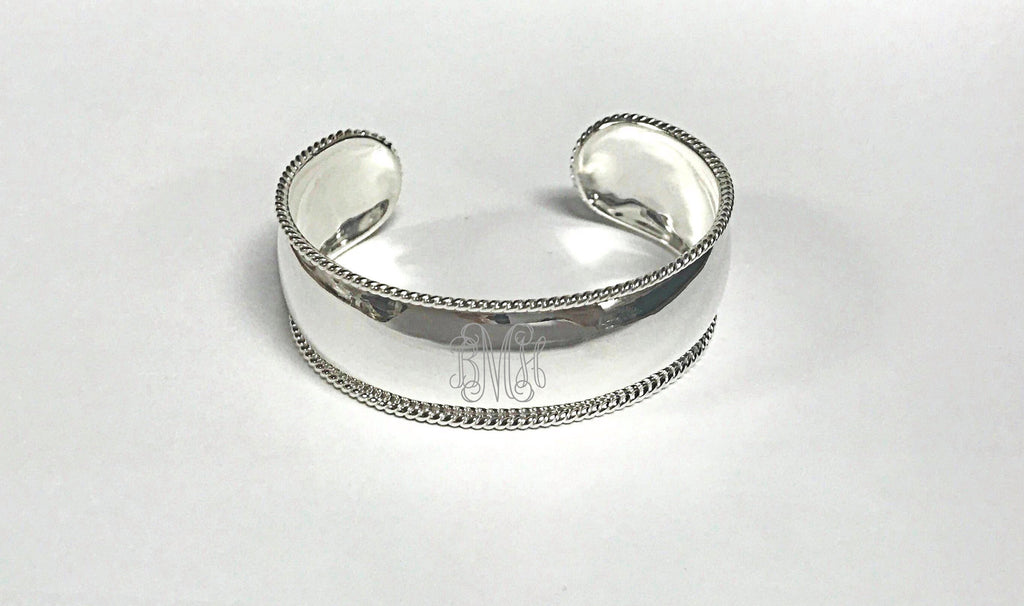 Silver Monogram Rope Twist Cuff