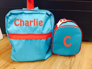 Large Blue Red Backpack: Red Name