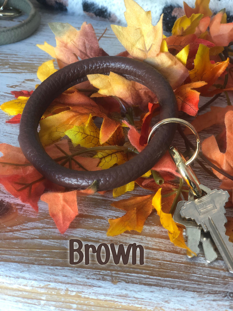 Fall leather bangle key fobs