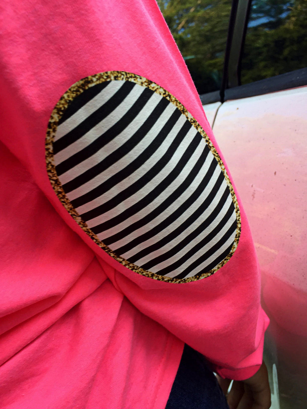 Glam Deer Elbow Patch Long Sleeve Shirt: Hot Pink/Gold Glitter