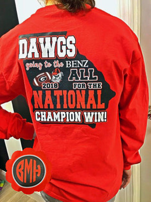 National Championship 2018 DAWGS Game Day Long Sleeve Tee: Red