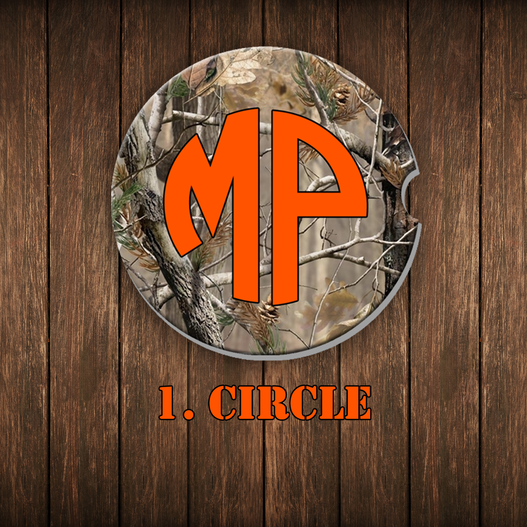 Camo Monogram Car Coaster Set