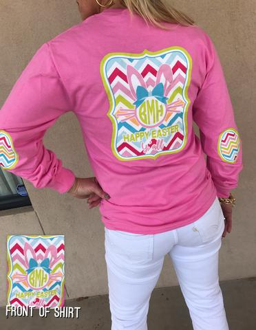 Happy Easter Monogram Elbow Patch Shirt: Azalea Pink