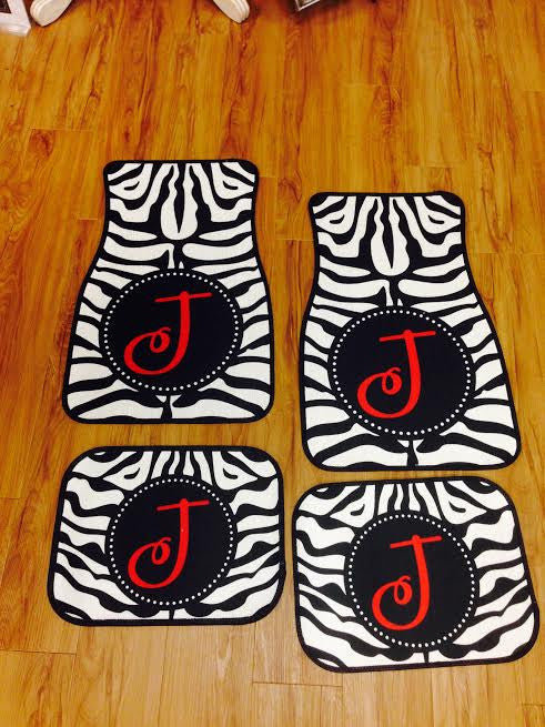 Monogram Car Mats: Zebra/ Red